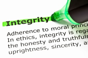 The word 'Integrity' highlighted in green with felt tip pen